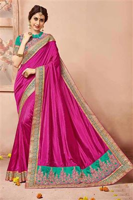 image of Beige-Pink Color Designer Art Silk-Lycra Fabric Saree with Embroidery