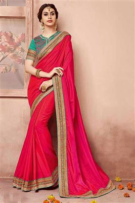 image of Attractive Pink And Red Color Designer Saree In Georgette Fabric