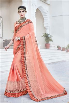 image of Beige And Navy Blue Color Designer Embroidered Saree In Georgette Fabric