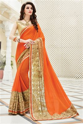 image of Designer Beige-Blue Color Embroidered Saree with Dhupion Blouse