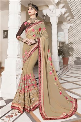 image of Beige-Purple Designer Saree with Raw Silk Blouse