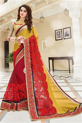 image of Wedding Wear Yellow And Red Color Georgette Saree With Embroidery