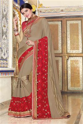 image of Pink-Grey Color Designer Chiffon-Georgette Saree with Embroidery