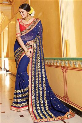 image of Navy Blue-Cream Color Designer Half-Half Saree in Velvet-Cotton Fabric