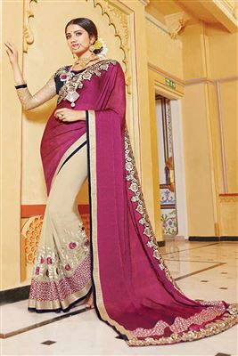 image of Cream-Blue Daily Wear Printed Crepe Saree