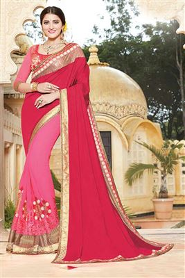 image of Pink Color Party Wear Designer Embroidered Saree In Georgette Fabric