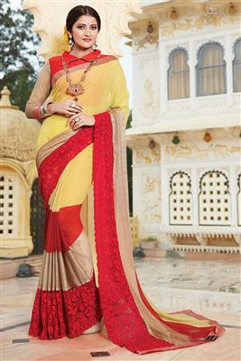 image of Designer Party Wear Pink And Off White Color Saree In Georgette Fabric