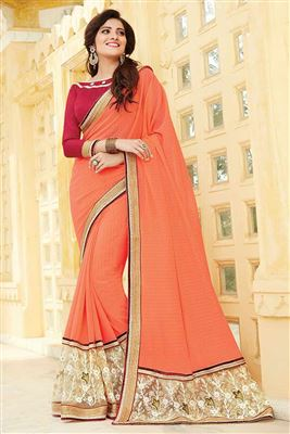 image of Georgette Fabric Embroidered Designer Party Wear Saree In Peach Color