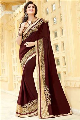 image of Pink-Off White Color Designer Festive Wear Half n Half Georgette Saree