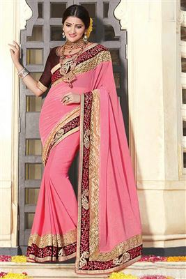 image of Embroidered Designer Party Wear Georgette Saree In Pink Color