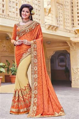 image of Cream Color Fancy Fabric Designer Party Wear Saree