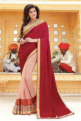 image of Pink And Red Color Party Wear Designer Saree In Georgette Fabric