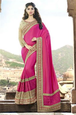image of Peach And Grey Color Printed Party Wear Saree