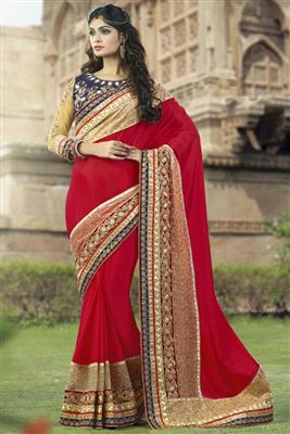image of Embroidered Designer Pink Color Saree In Georgette Fabric