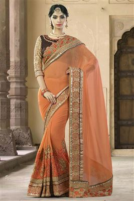 image of Georgette Fabric Embroidered Saree In Pink Color