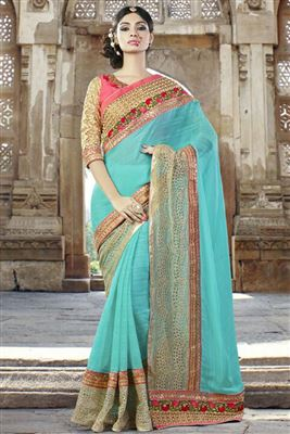 image of Embroidered Designer Georgette-Jacquard Saree in Blue-Cream Color