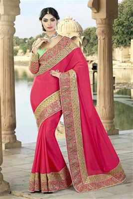 image of Lovely Green Color Party Wear Chiffon Saree
