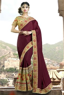 image of Orange-Pink Color Embroidered Designer Georgette-Net Saree with Raw Silk-Net Blouse