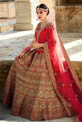 image of Orange Color Tissue-Shimmer Designer Bridal Lehenga Choli