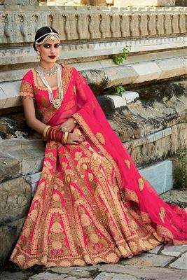 image of Wedding Wear Embroidered Net Fabric Lehenga Choli in Yellow Color