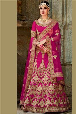image of Bridal Wear Pink Color Net-Shimmer Bridal Lehenga