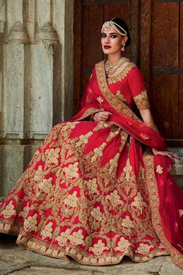 image of Beige Color Wedding Bridal Embroidered Lehenga Choli In Net And Brasso Fabric