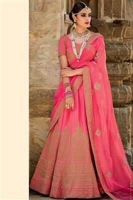 image of Pink Color Festive Wear Designer Net Lehenga Choli