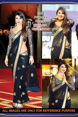 image of Blue Chiffon Sophie Choudry Bollywood Saree-1381