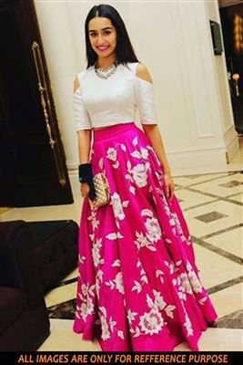image of Pink And Cream Color Bollywood Replica Lehenga Choli by Shraddha Kapoor in Silk Fabric