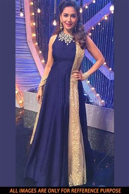 image of Madhuri Dixit Blue Color Bollywood Replica Designer Gown in Silk Fabric