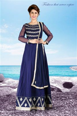 image of Blue Party Wear Designer Net Gown-1002