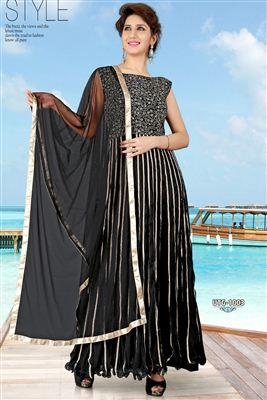 image of Designer Party Wear Black Net Gown-1003