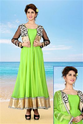image of Green Net Designer Gown With Koti-1005
