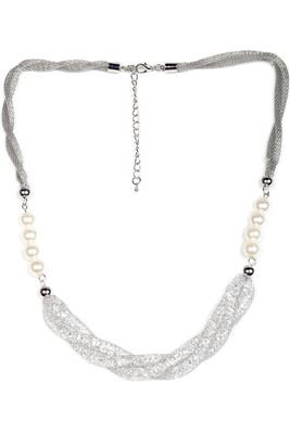 image of Stylish Silver Color Alloy Necklace