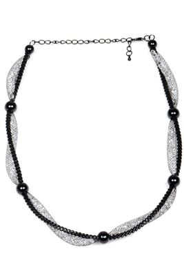 image of Stylish Black And Silver Color Alloy Necklace