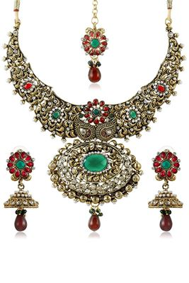 image of Blissful Red And Green Color Alloy Necklace Set