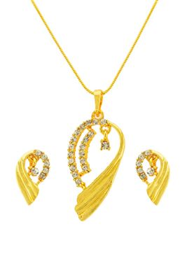 image of Angelic 18K Gold Plating Designer Pendant Set