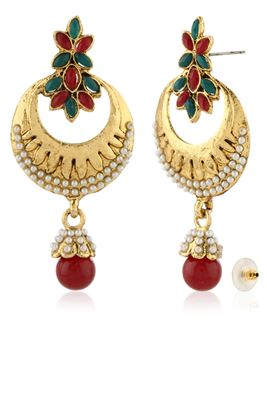 image of Gorgeous Golden-Maroon Fashionable Copper Earrings