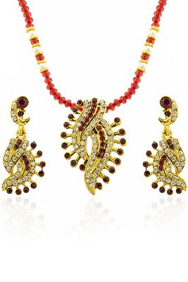 image of Golden And Maroon Color Fashionable Earrings