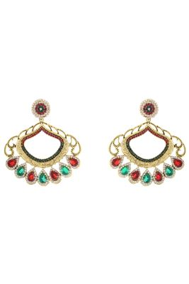 image of Golden,Maroon And Green Color Fancy Alloy Earrings
