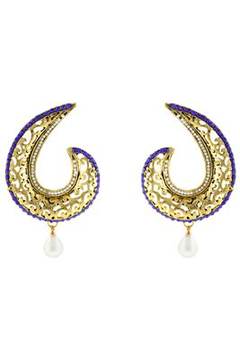 image of Golden And Blue Color Fancy Alloy Earrings