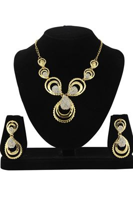 image of Blissful Golden Color Alloy Necklace Set