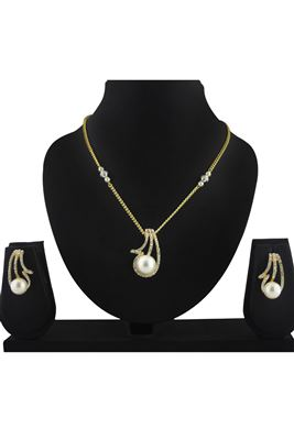 image of Mystical pearl And kundan necklace set