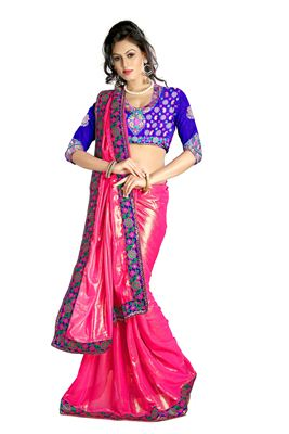 image of Pink-White Georgette Fancy Print Casual Saree
