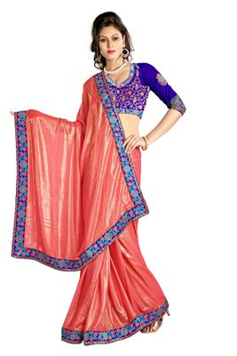 image of Pink Color Office Wear Fancy Print Chiffon Saree