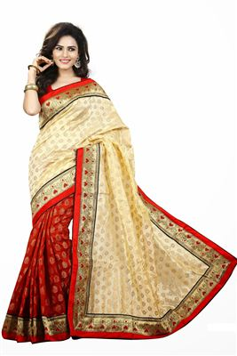 image of Wine-Cream Color Classic Georgette-Brasso Saree