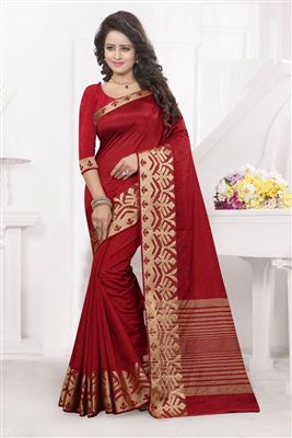 image of Red-Beige Party Wear Bhagalpuri Silk Saree-14485