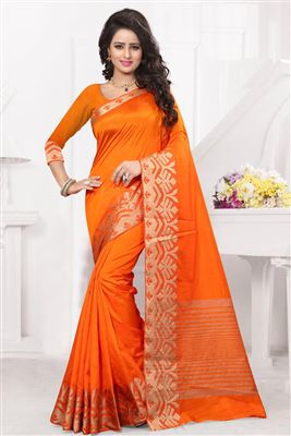 image of Cream Color Designer Party Wear Art Silk Fabric Saree with Jacquard Border