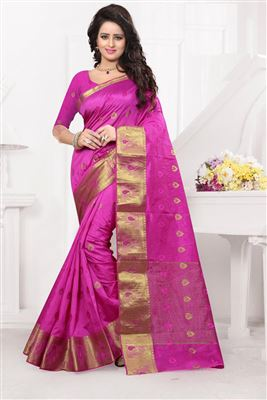 image of Pink-Cream Color Designer Georgette-Fancy Fabric Saree with Dhupion Blouse