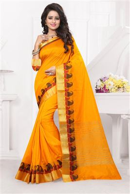 image of Traditional Art Silk Fabric Saree In Blue Color With Blouse